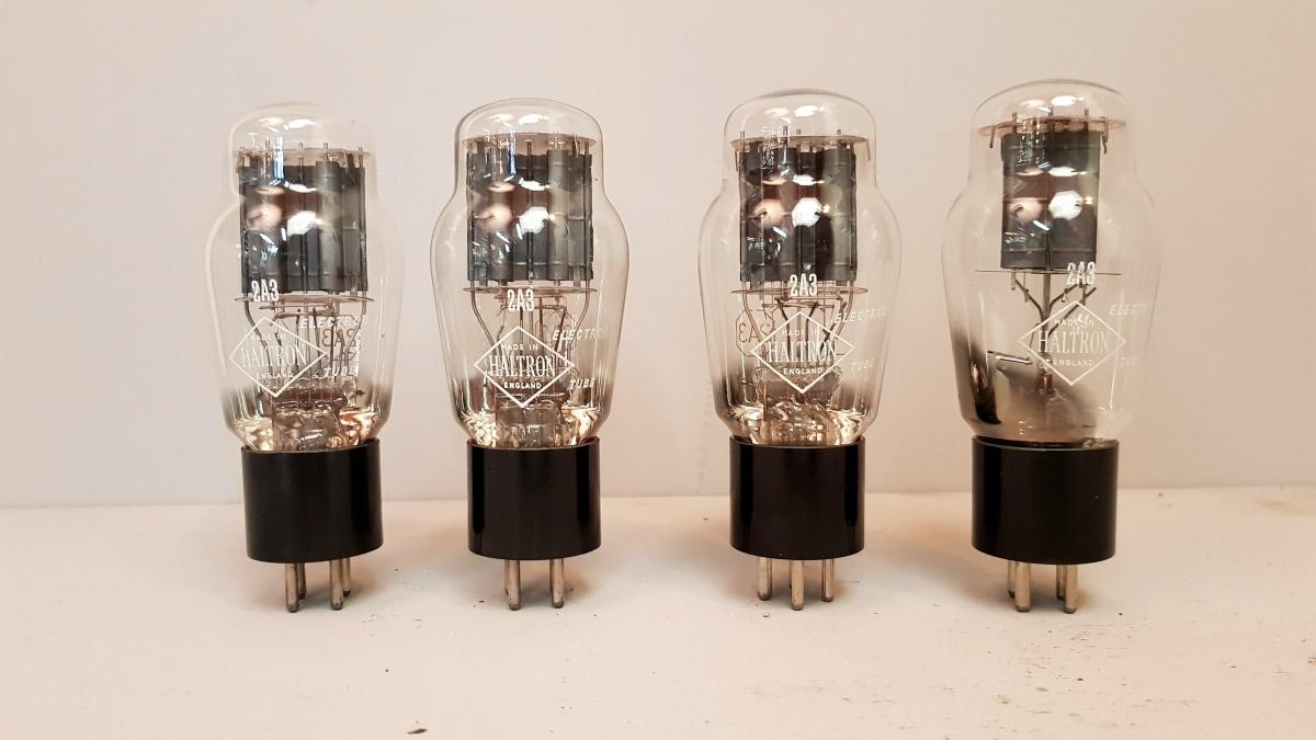 4 valvole  tubes nos  2 pair  2A3 Haltron biplacca  001-004