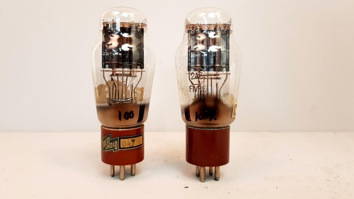 2 valvole  tubes nos  pair Fivre 2A3 biplacca coppia 016-017